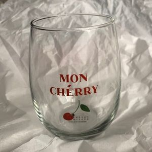 Mon Cherry (Cheri) stemless wine glass! NWT!